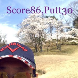 近江ヒルズゴルフ倶楽部☆☆☆☆☆(2020/4/7,晴れ,こぶし→しゃくなげ,スコア86,パット数30) 9,112歩