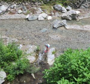 秘境で川遊び