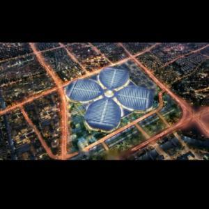 上海で開催中の「第二回国際輸入博覧会」会場を上から見ると四つ葉のクローバー(四叶草)