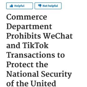 米国では「 TIK TOK だけでなく,微信(ウィチャット)も禁止」となり米国の中国人大混乱