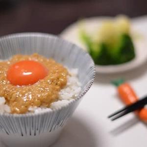 やっぱりこれです、玉子納豆の朝食・・・