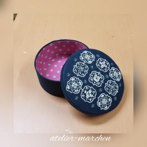 刺繍円形ボックス 生徒様作品