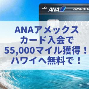ANAアメックスカード入会で55,000マイル獲得!キャンペーン利用で無料でハワイへ!(2019年10月最新版)