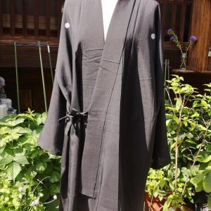 黒の絽の作務衣