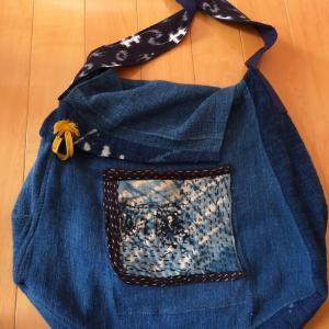 久留米絣を使ってバッグをリメイク