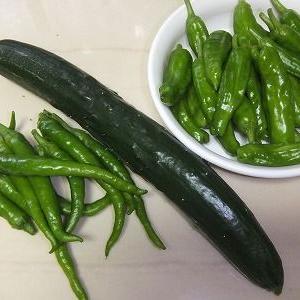 ♪今日の収穫~~青い物&夕飯♪
