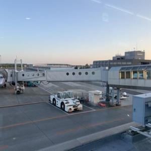 夕暮れ時の新千歳空港に到着