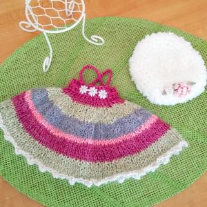 あみぐるみへ編んだ ニットワンピとベレー帽(^^♪