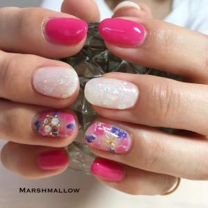 紫とピンクのお花ネイル@石狩 ネイルサロン マシュマロ