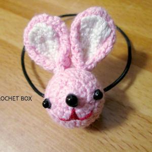 再販品のピンクウサギのヘアゴムが仕上がりました。