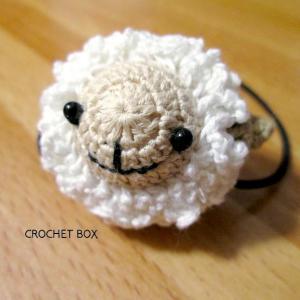 再販品の羊さんのヘアゴムが仕上がりました。
