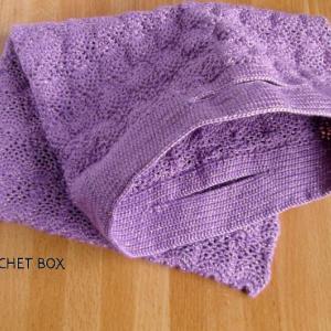 FBよりオーダーのレース編み♥パイナップル編みの袋  紫ラメをお買上げ頂きました。