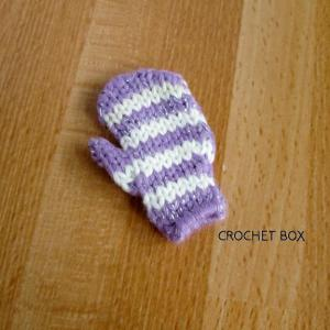 うす紫色のミトンのパーツが仕上がりました。