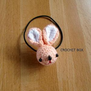 編みぐるみ♡オレンジ色のウサギさんのヘアゴム仕上がりました。