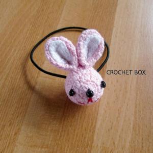 編みぐるみ♡ピンクのウサギさんのヘアゴム仕上がりました。
