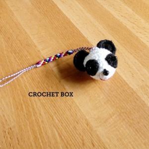 minne(ミンネ)さんへ再販の編みぐるみ♡パンダさんさんのストラップが仕上がりました。