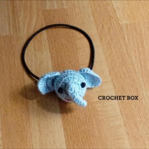 小平市のはこギャラリーさんへ再販品の編みぐるみのゾウさんのヘアゴムが仕上がりました。
