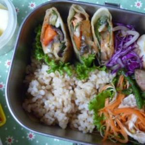 鮭と夏野菜のチーズ春巻きお弁当