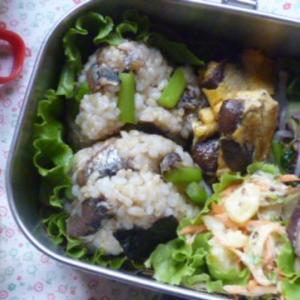 鰯とアスパラおむすびのお弁当