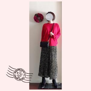 赤ニット&柄スカートのコーデと、新型肺炎