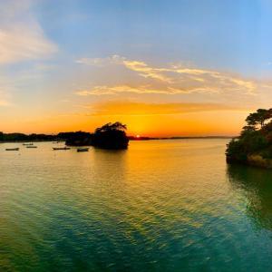松島で夕陽をみる
