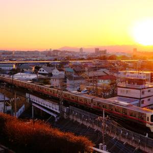 分倍河原の夕景と京王線