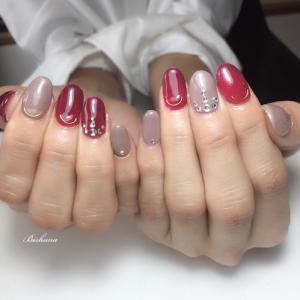 ワインレッド☆大人ネイル