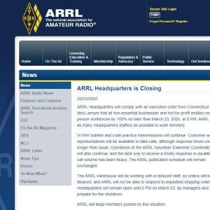 新型コロナウィルスとアマチュア無線 ARRL本部閉鎖