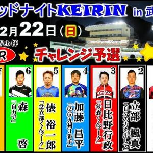 今夜(12/22)第1R  21:01発走予定で2019最後のミッドナイト競輪in武雄の開催が始まります。