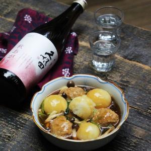 秋の煮物と日本酒のぬるかん