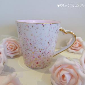 **マグカップ内側の側面全面貼りハートハンドルマグカップ作品...♥♡♥**