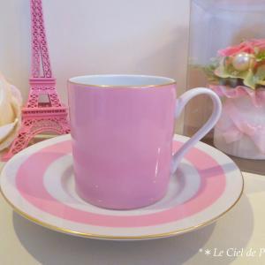 【インストラクターカリキュラム・転写紙コース】大人可愛いピンクのコーヒーカップ&ソーサー作品♥♡
