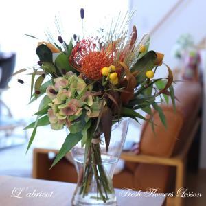 ドライになるお花でブーケのレッスン。庭のレモンマートルをたして。お花のプロと...
