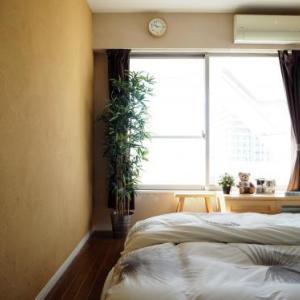 寝室の珪藻土の壁とIKEAのグリーン