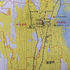 市役所からの洪水ハザードマップ。