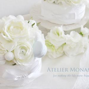 ご結婚のお祝いに、サムシングブルーな「フラワーケーキ」♪