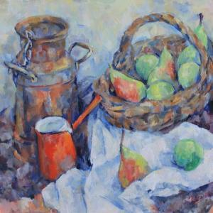 ミルクポットと果物籠