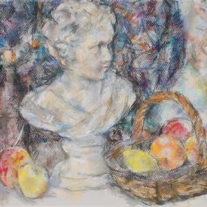 少女像と果物籠