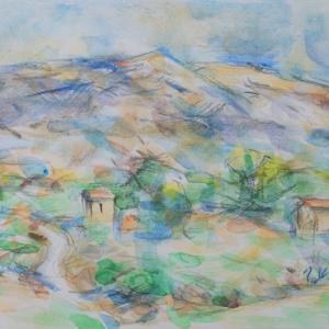白い道とヴァントゥー山(水彩)