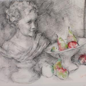 少女像と果物