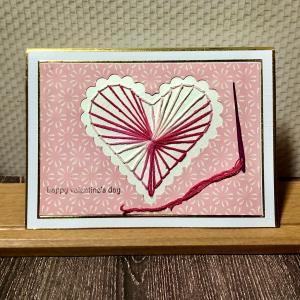 刺繍のバレンタインカード