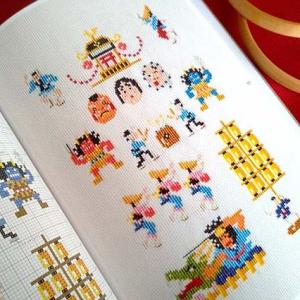 日本の【祭り】をクロスステッチデザインしました。