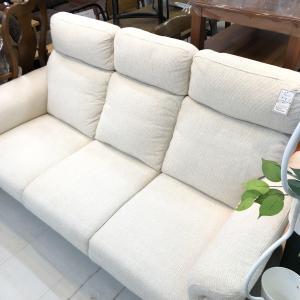 【商品紹介】美品‼白色 布製3Pハイバックソファー