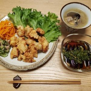 家ごはん:鶏むね肉のレモンマヨネーズから揚げと、あさりのお味噌汁