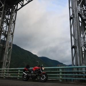 十津川 つり橋 風屋ダム そして熊野灘が見えた