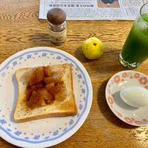 梨トーストの朝食、パン食べ放題のランチ