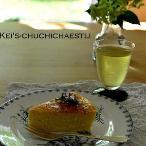 ヨーグルトチーズケーキと新しいアンティークのお皿
