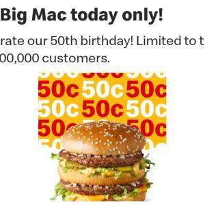 本日50万人限定ビックマックが破格な値段!
