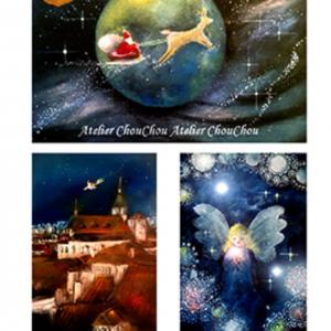 ⭐︎サンタとトナカイ、光の天使、魔女が飛ぶ〜パステル