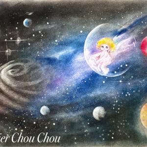 ☆パステル初めてでも描ける簡単宇宙画の描き方+宇宙天使も現れて